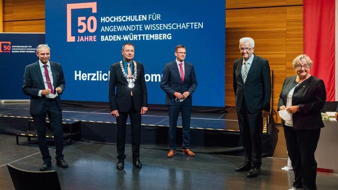 50 Jahre Hochschulen für Angewandte Wissenschaften – Ministerpräsident Winfried Kretschmann und Wissenschaftsministerin Theresia Bauer bei Festakt an der Hochschule Aalen